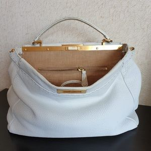 Fendi peekaboo large white linen inside. Firm pric